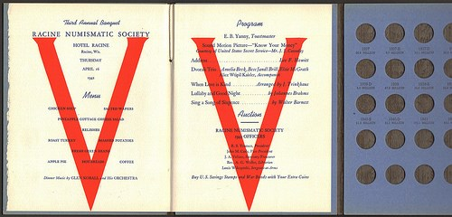 WHITMAN COIN FOLDERS AS BANQUET PROGRAMS