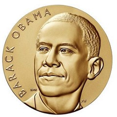 OBAMA RECEIVES HIS PRESIDENTIAL MINT MEDALS