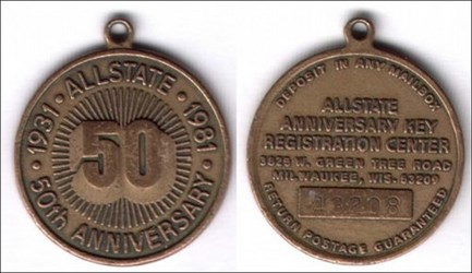 1981 ALLSTATE 50TH ANNIVERSARY MEDAL