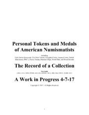 NEW BOOK: PERSONAL TOKENS AND MEDALS OF AMERICAN NUMISMATISTS