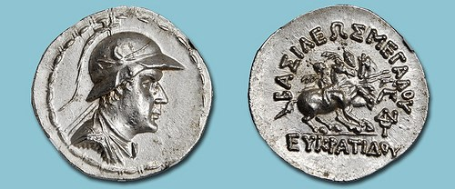 BACTRIAN TETRADRACHM OF KING EUCRATIDES