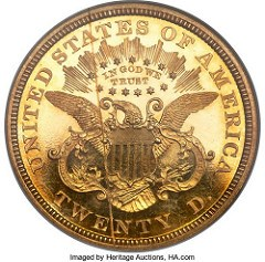 CHURCH DONATION: 1866 DOUBLE EAGLE WITH MOTTO