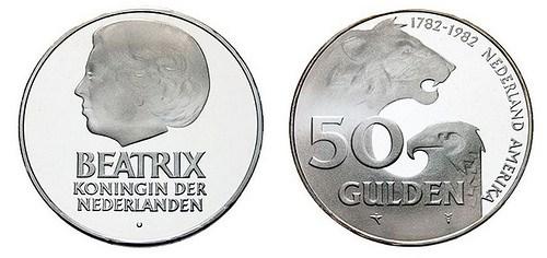 1982 NETHERLANDS-AMERICAN 50 GULDEN