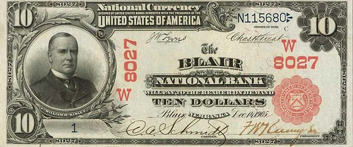 ARTICLE PROFILES BLAIR, NB $10 NATIONAL BANK NOTE