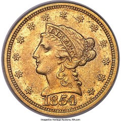 1854-S QUARTER EAGLE OFFERED