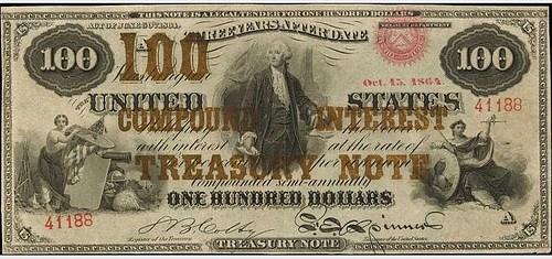 1864 $100 COMPOUND INTEREST TREASURY NOTE