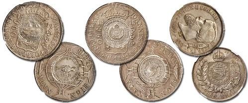 COUNTERMARKED COMMEMORATIVE BRAZILIAN COINS