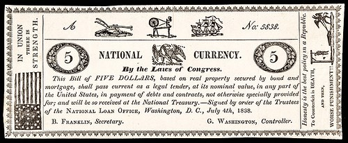 1838 PROPOSED NATIONAL CURRENCY NOTE