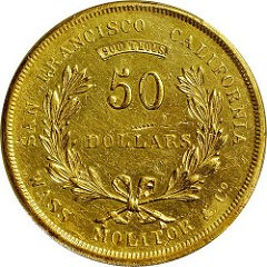 1855 WASS, MOLITOR & CO. $50 PRIVATE GOLD