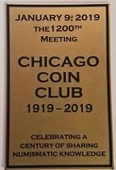 CHICAGO COIN CLUB 1,200TH MEETING