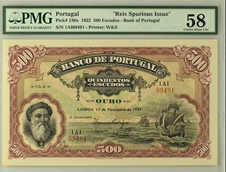 REIS SPURIOUS 1922 PORTUGAL 500 ESCUDOS NOTES