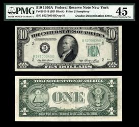 $11 BILL: $10/$1 DOUBLE DENOMINATION ERROR