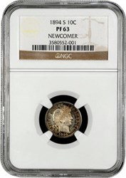 1794 DOLLAR, 1894-S DIME REPORTED STOLEN