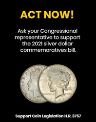 1921 SILVER DOLLAR ACT GAINS SPONSORS