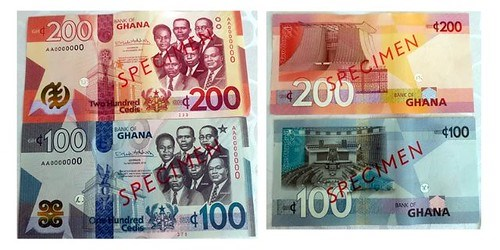 GHANA ISSUES NEW BANKNOTES AND TWO CEDI COIN