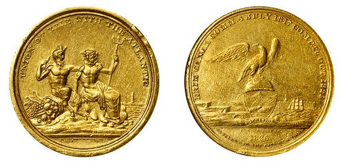 1826 GOLD ERIE CANAL COMPLETION MEDAL