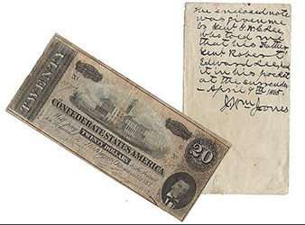 CONFEDERATE $20 NOTE HELD BY LEE AT APPOMATTOX