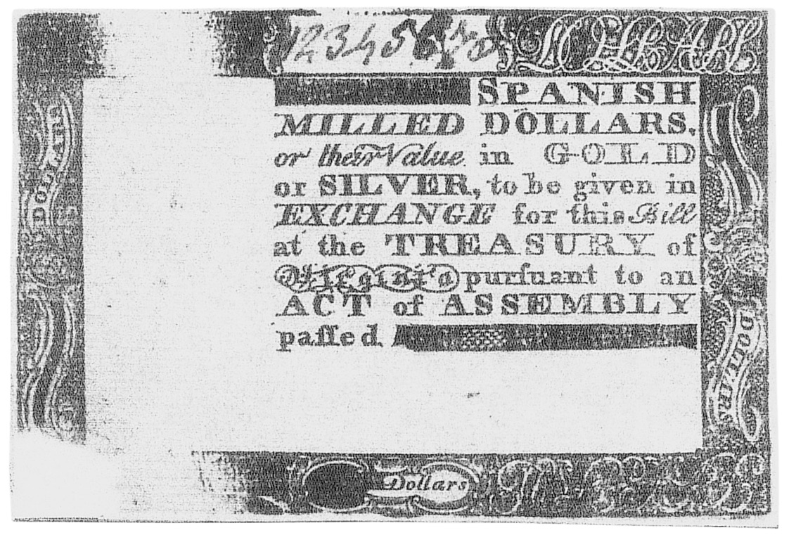 Early Paper Money of America / Virginia / May 4, 1778 Act with Printed Date
