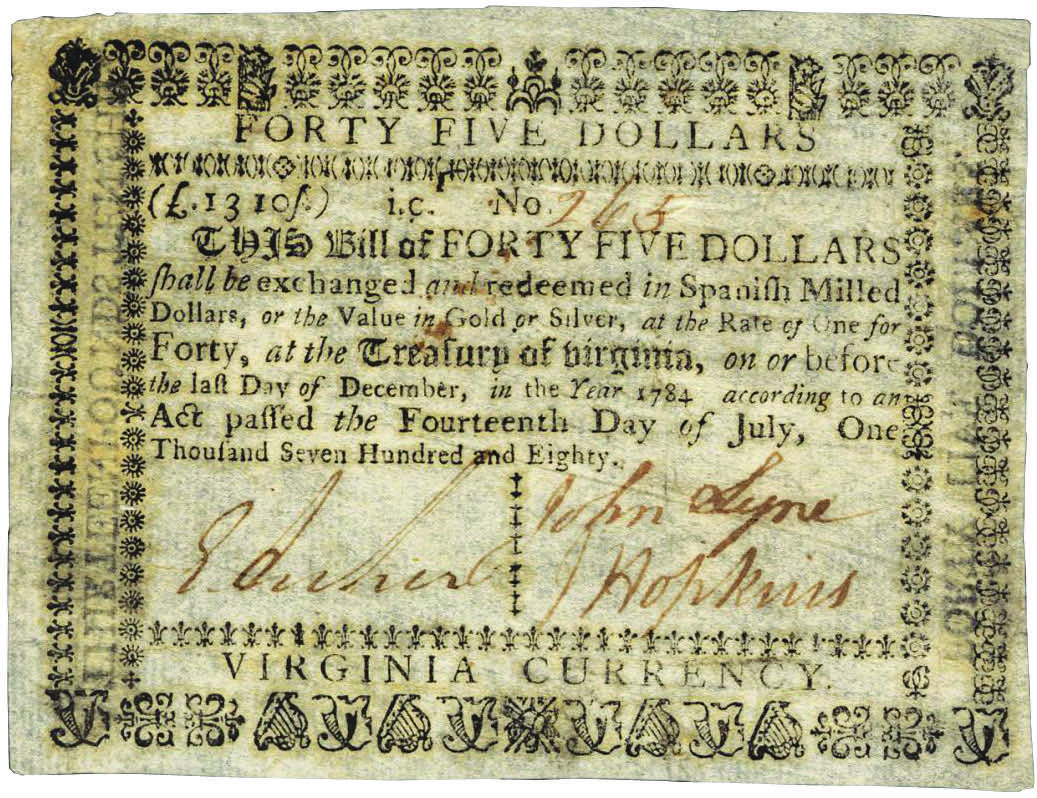 Early Paper Money of America / Virginia / July 14, 1780 Act