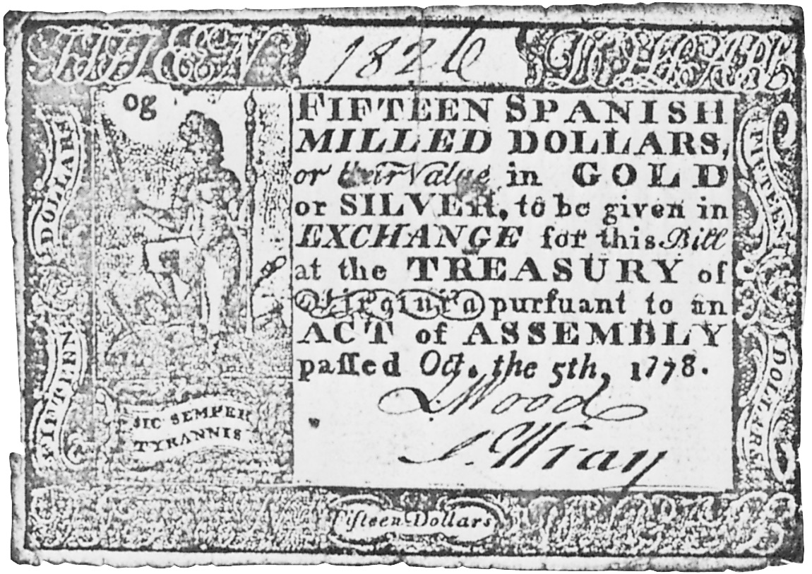 Early Paper Money of America / Virginia / October 5, 1778 Act
