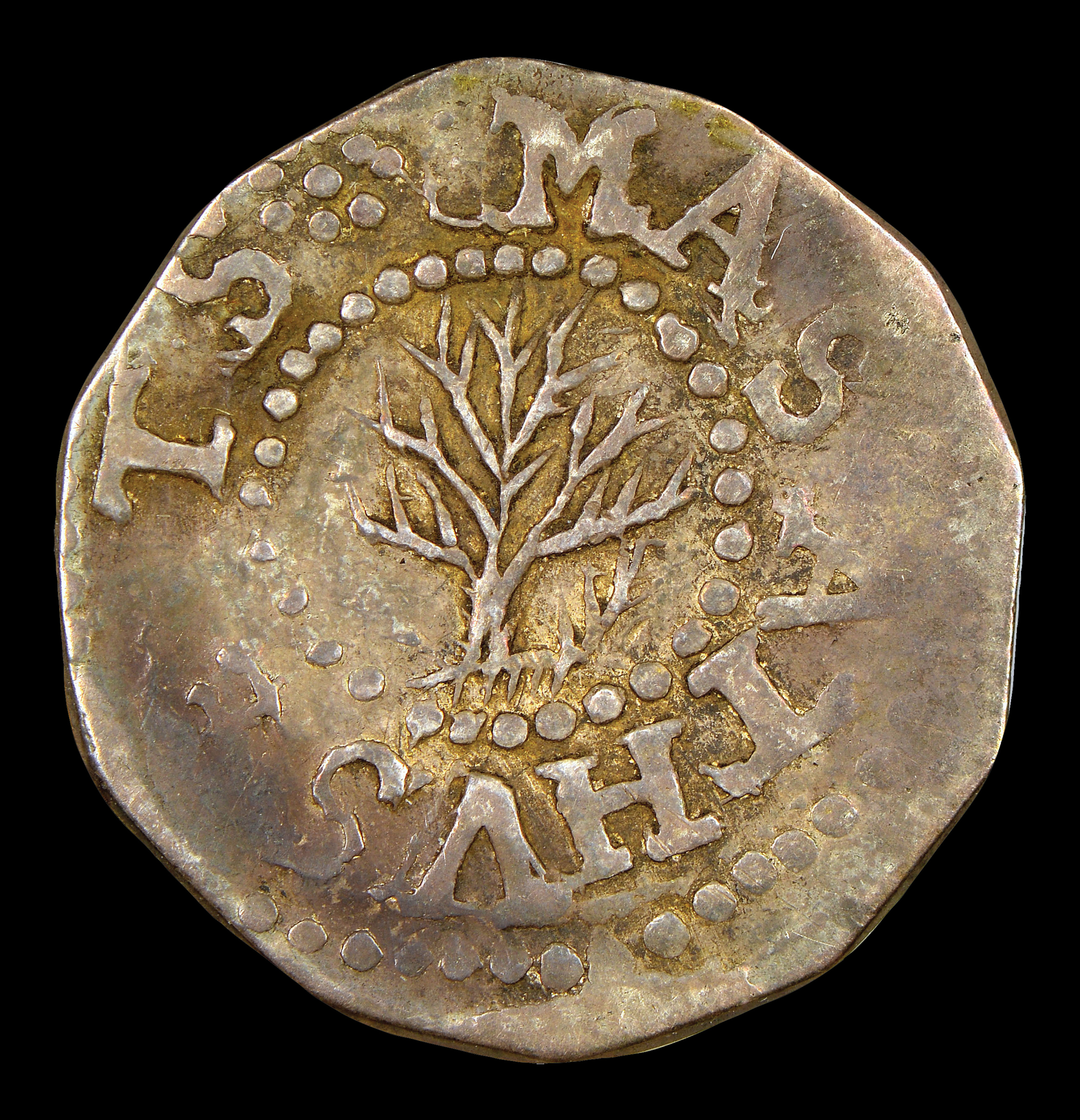 1652 Oak Tree 3 Pence, No IN on Obverse