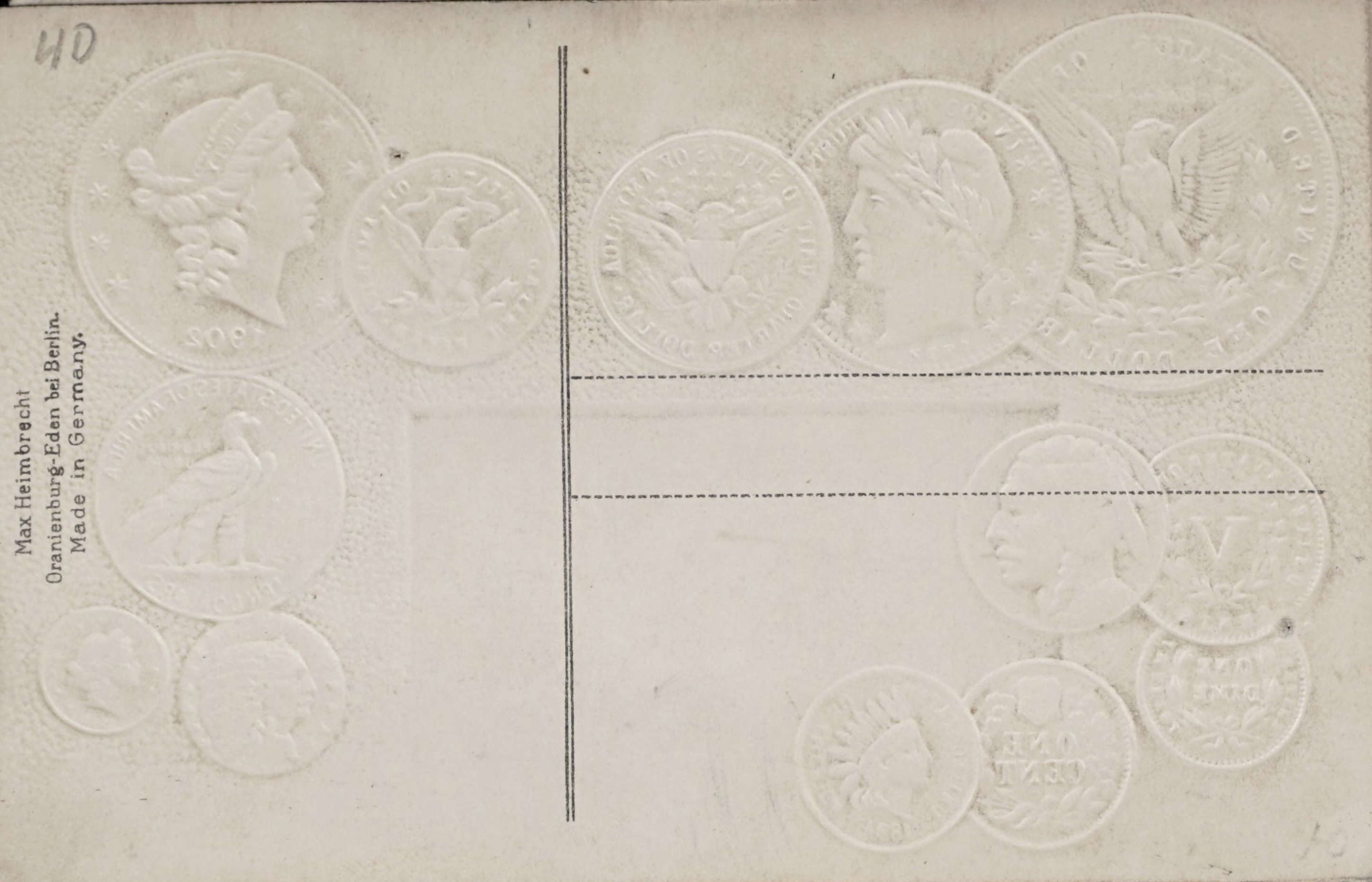 Reverse side: Post-card with embossed US coins