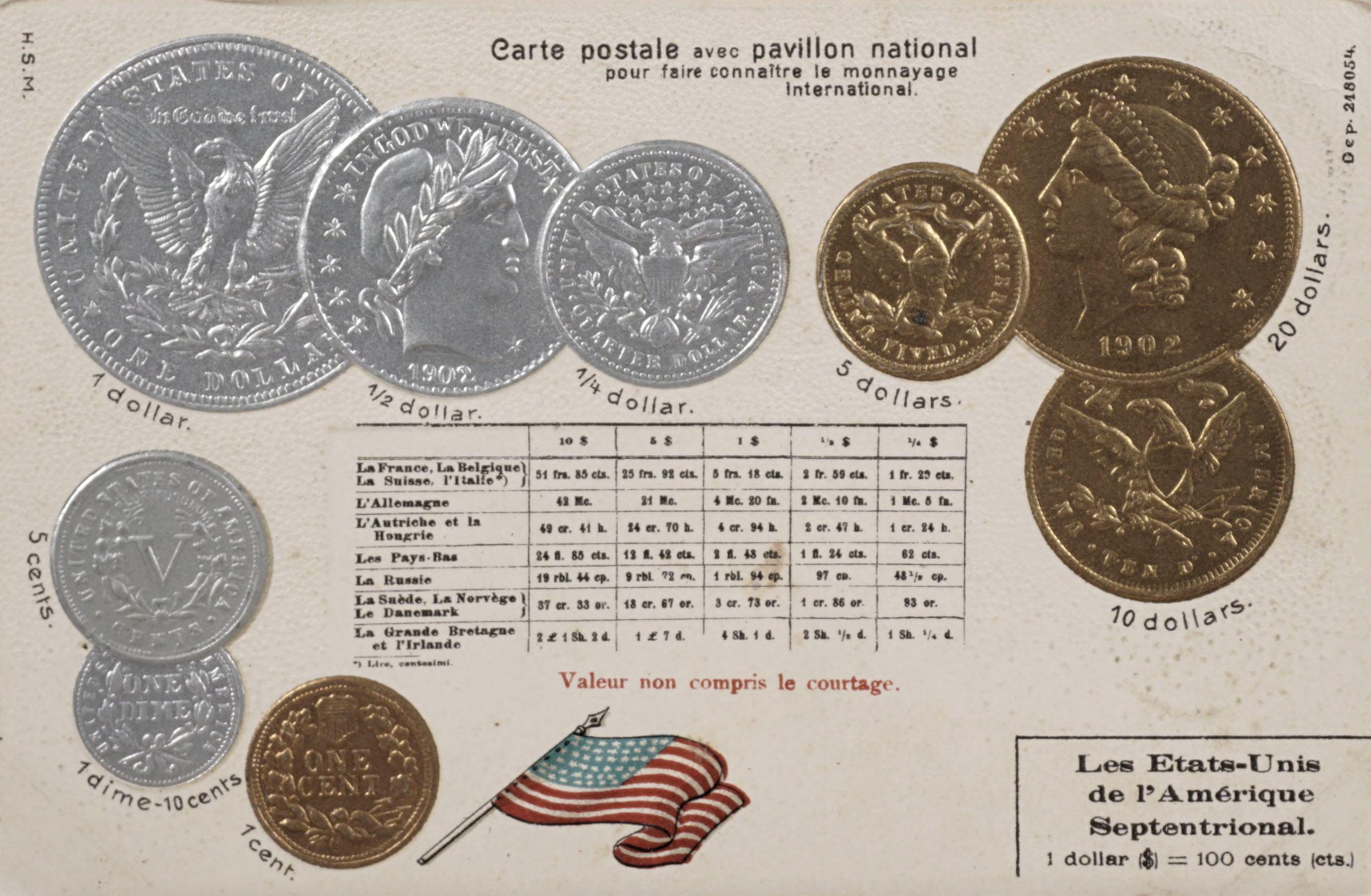 Carte postale avec pavillon national pour faire connaitre ie monnayage International