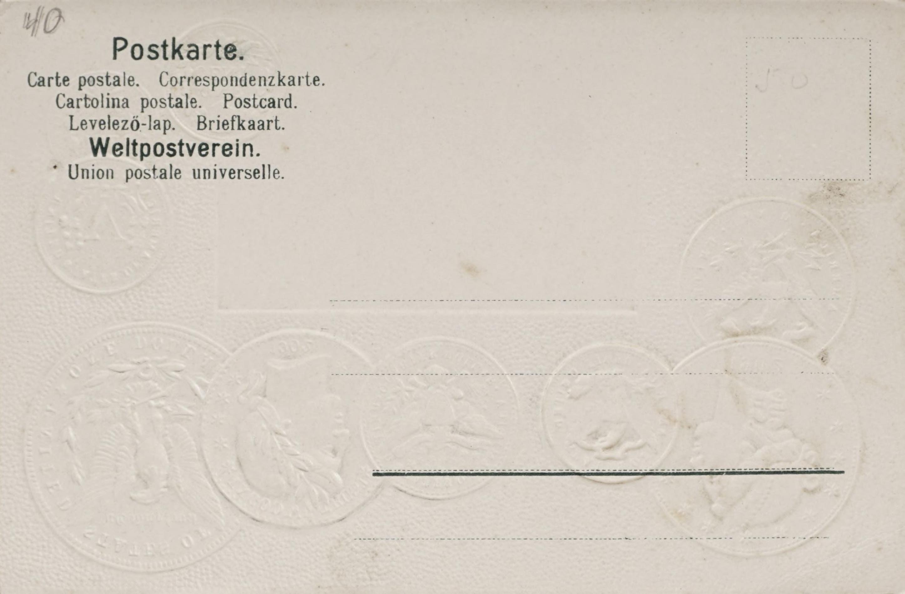 Reverse side: Carte postale avec pavillon national pour faire connaitre ie monnayage International