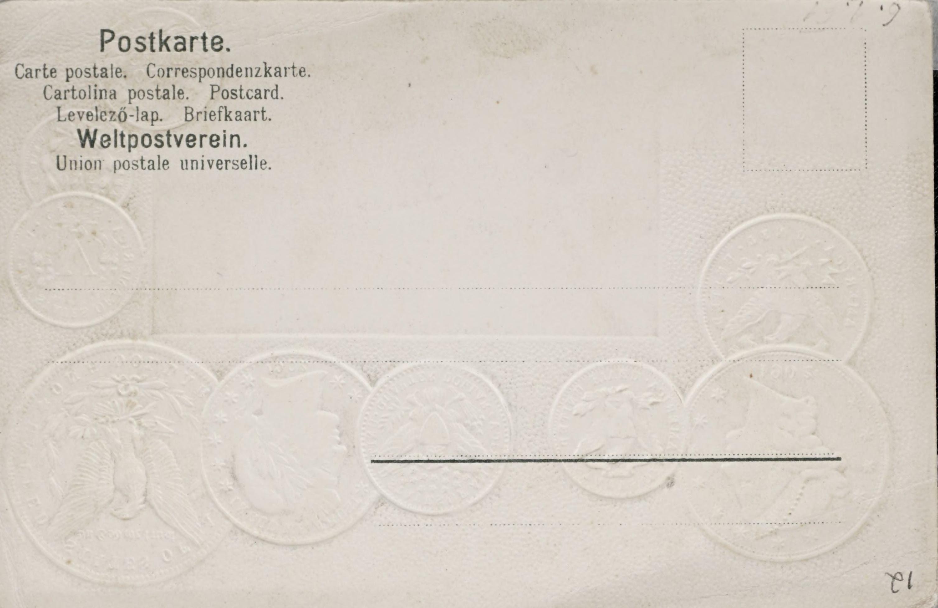 Reverse side: Postkarte mit Nationalflagge zur Information �ber internationales, Munzwesen