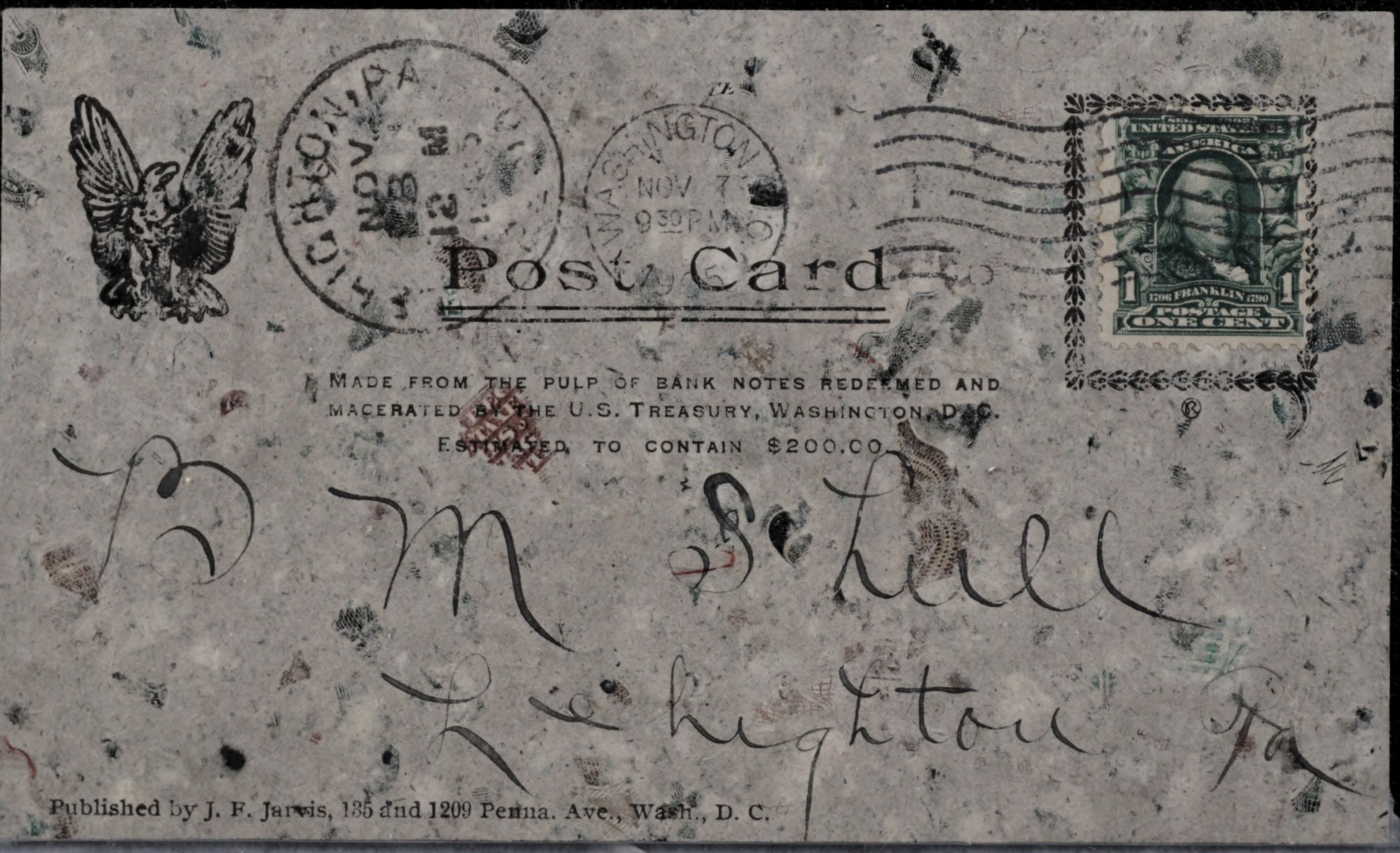 Post card made from bank note pulp