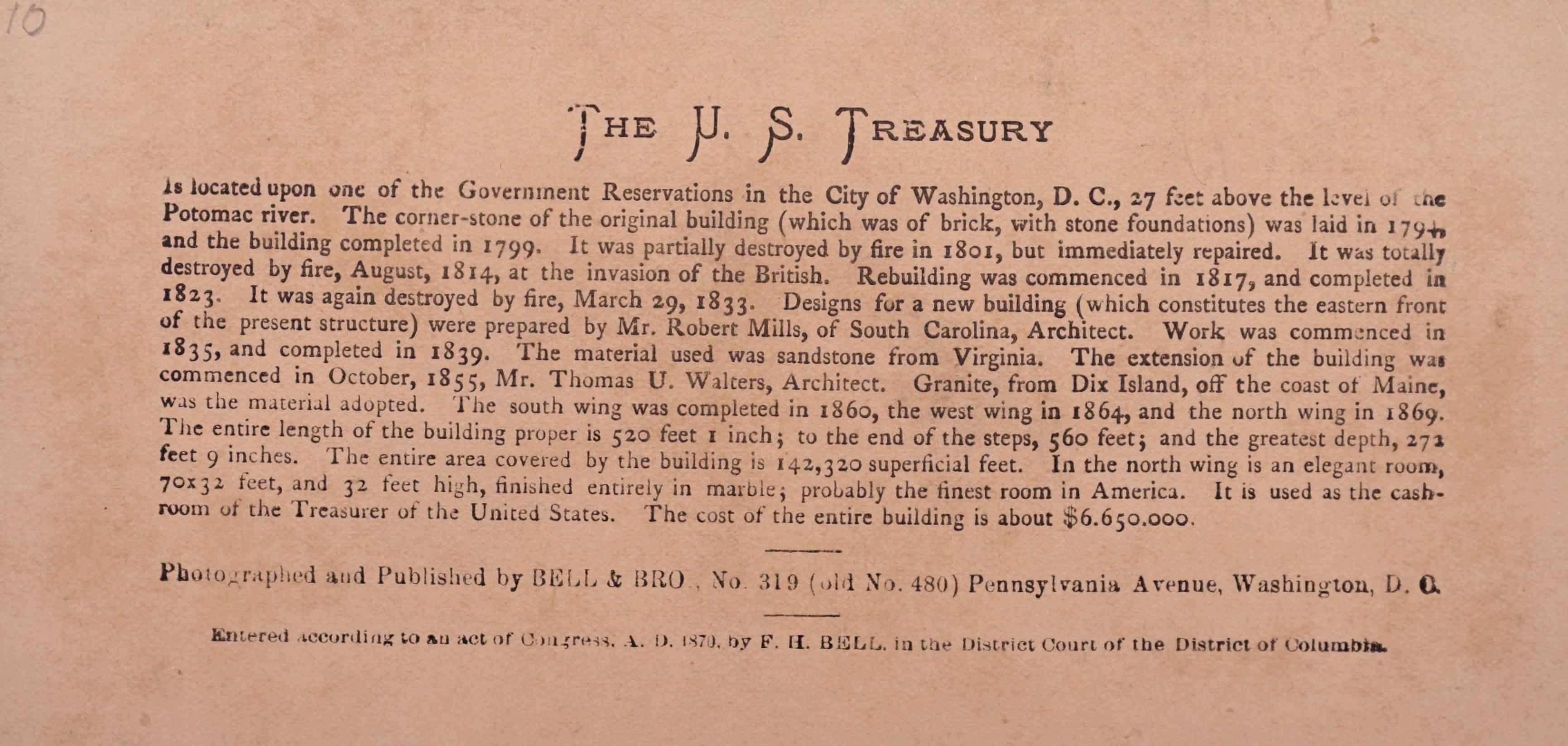 Reverse side: U.S. Treasury