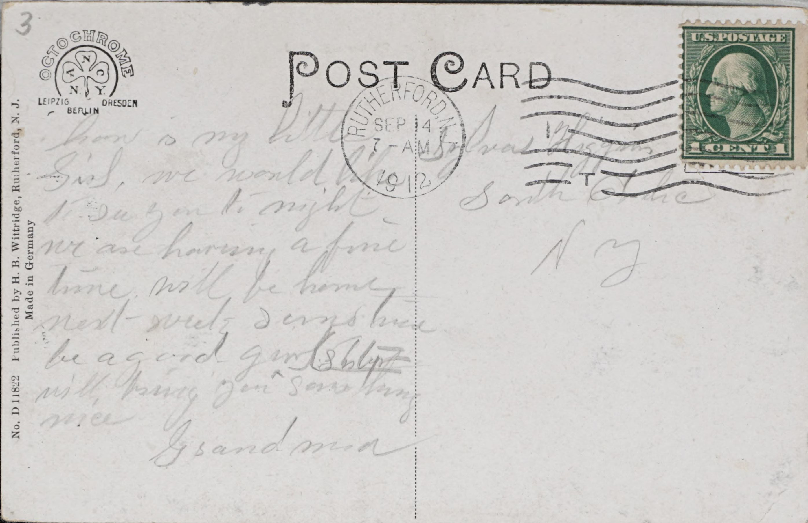Reverse Side: Rutherford National Bank, Rutherford, N.J.