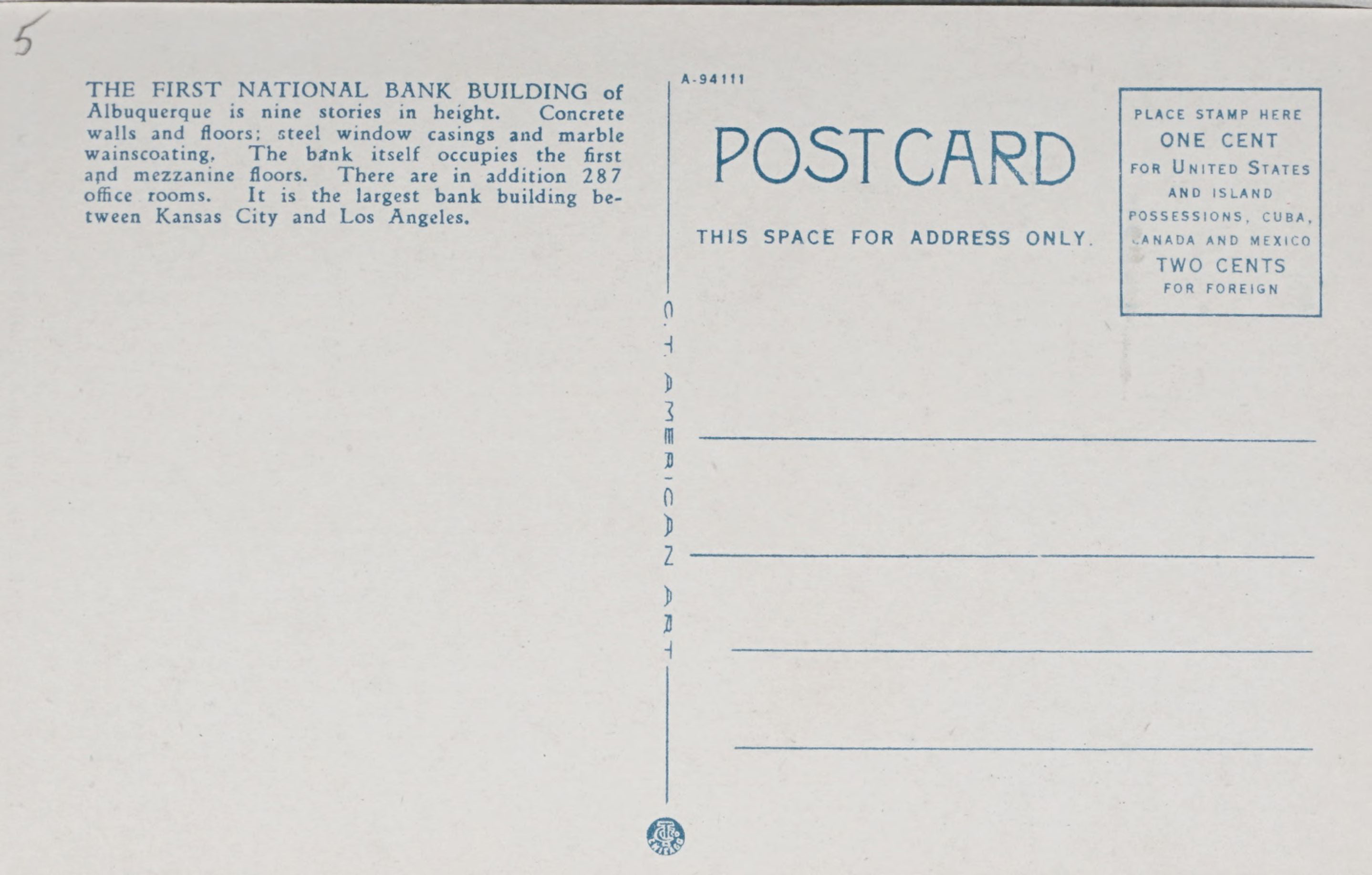 Reverse Side: The First National Bank Building, Albuquerque, N.M.