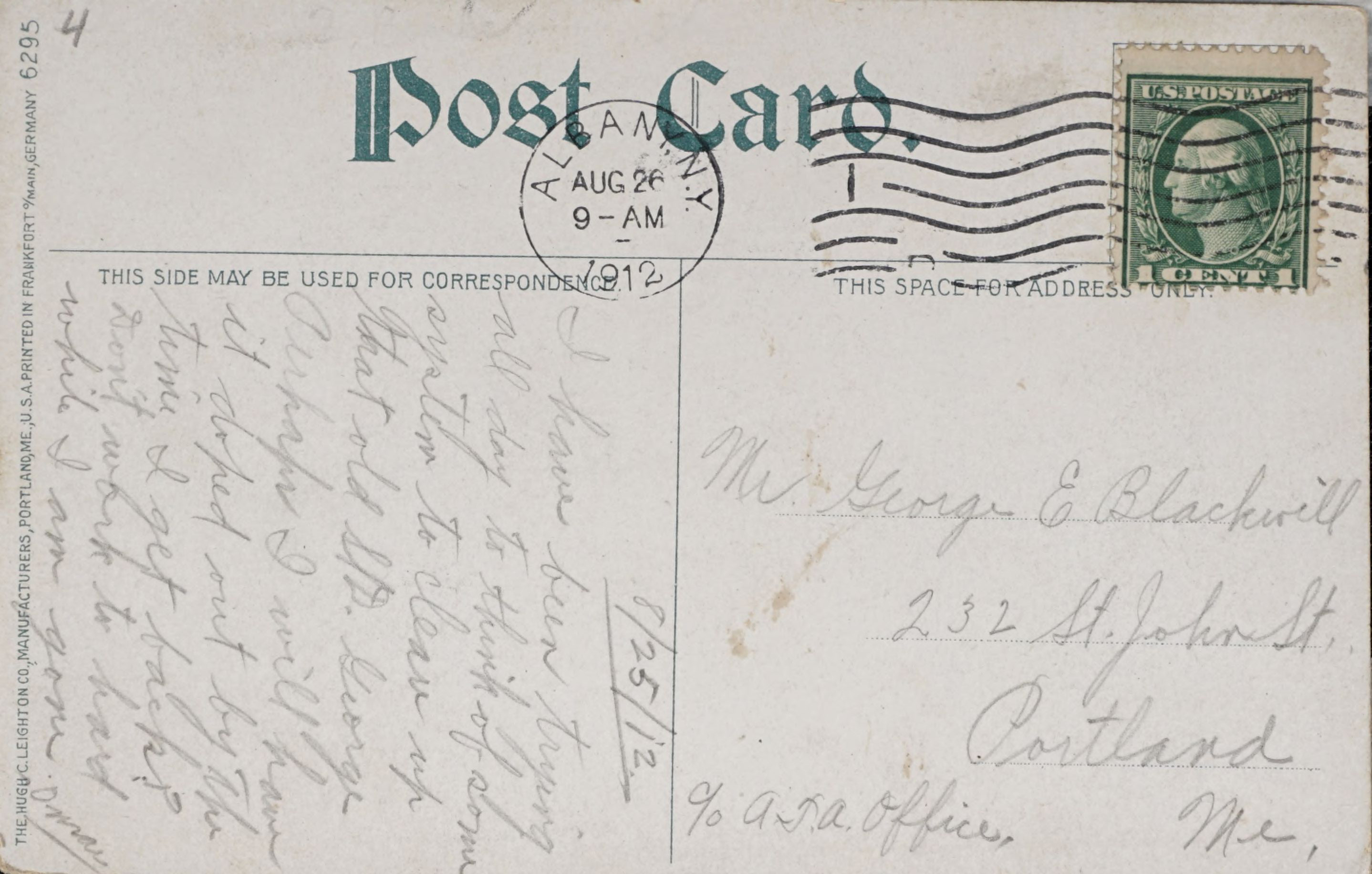 Reverse Side: Albany, N.Y., South Side, State Street