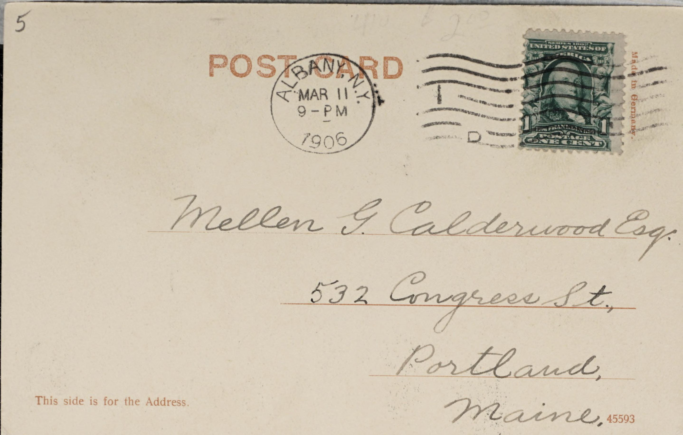 Reverse Side: National Commercial Bank, Albany, N.Y.