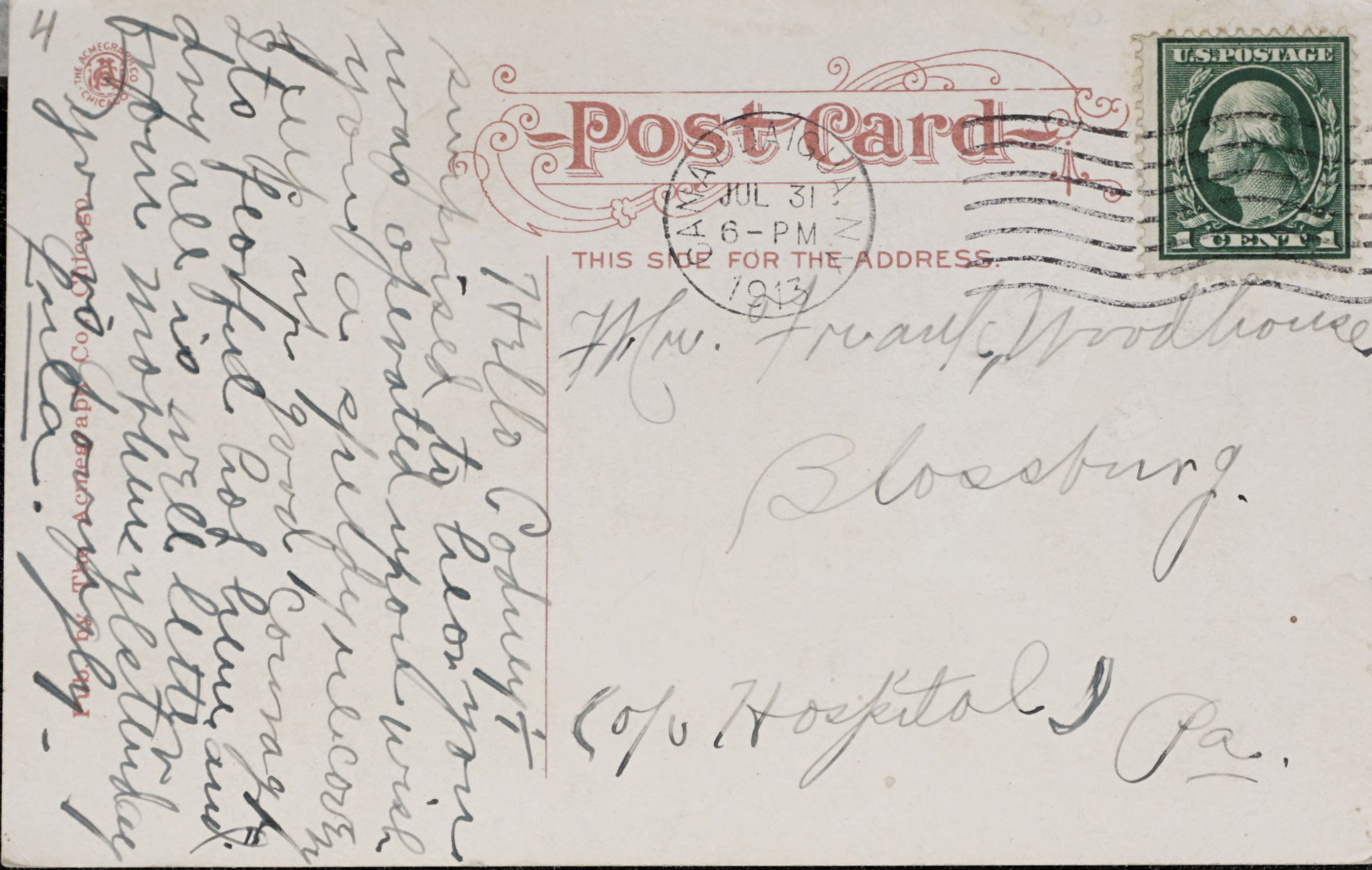 Reverse Side: 12542. County National Bank, Canandaigua, N.Y.