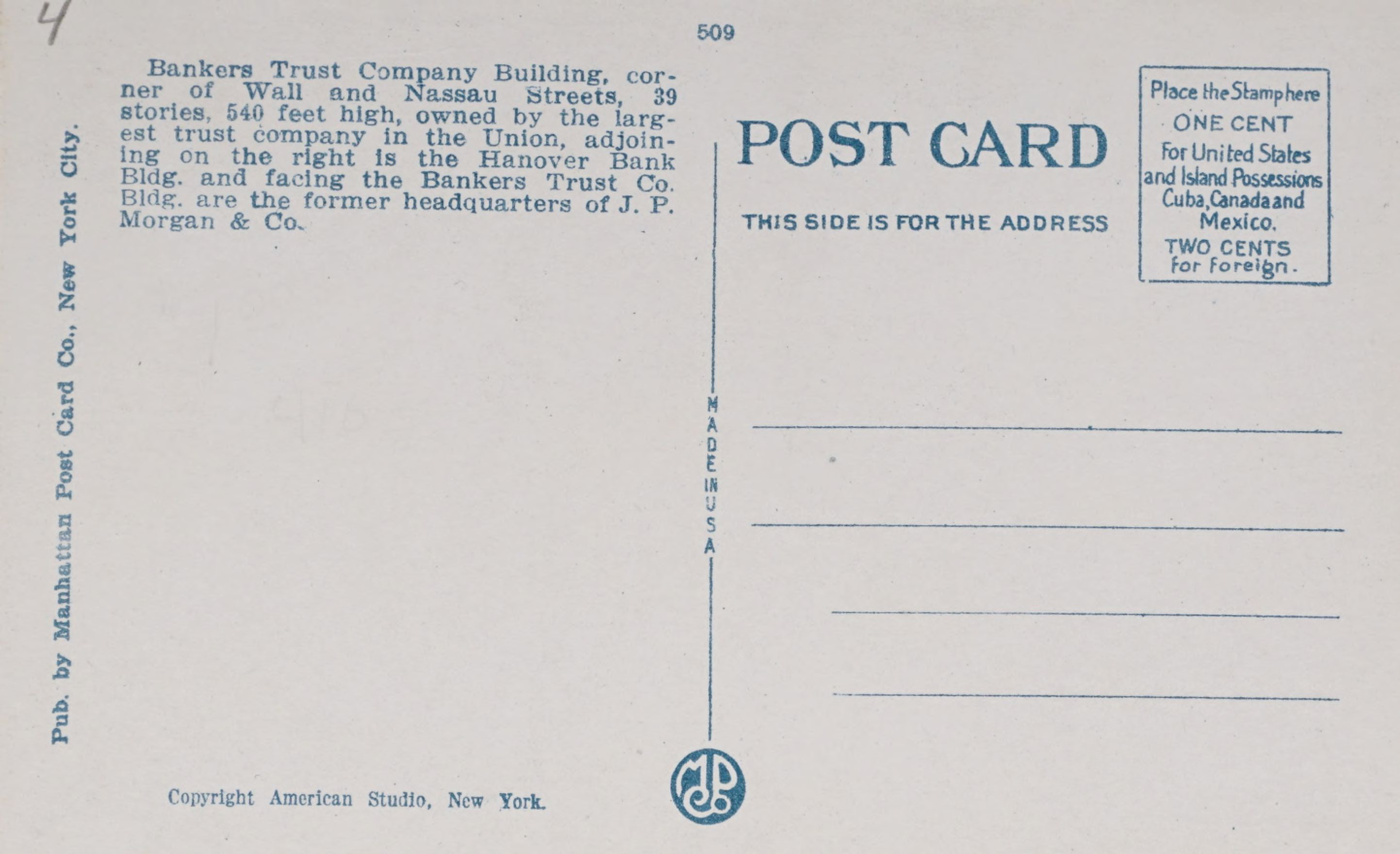 Reverse Side: Bankers Trust and Equitable Bldg., New York City