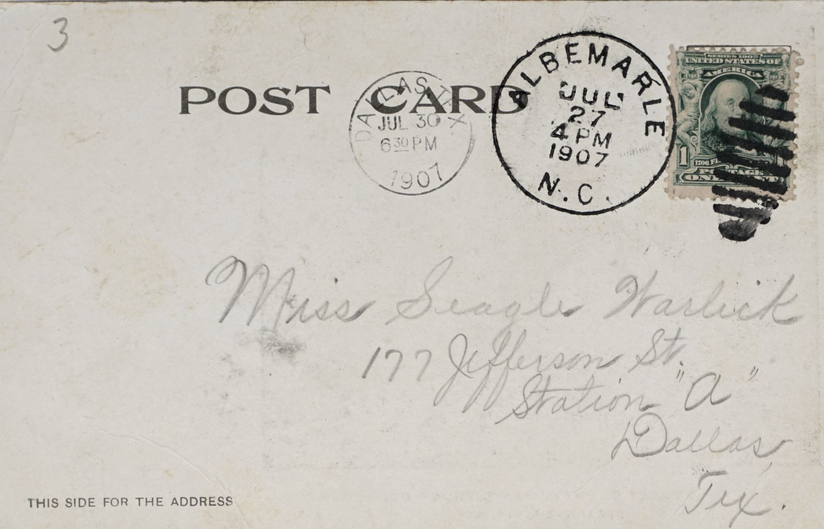 Reverse Side: Stanly County Loan & Trust Co., Organized Aug. 4, 1904