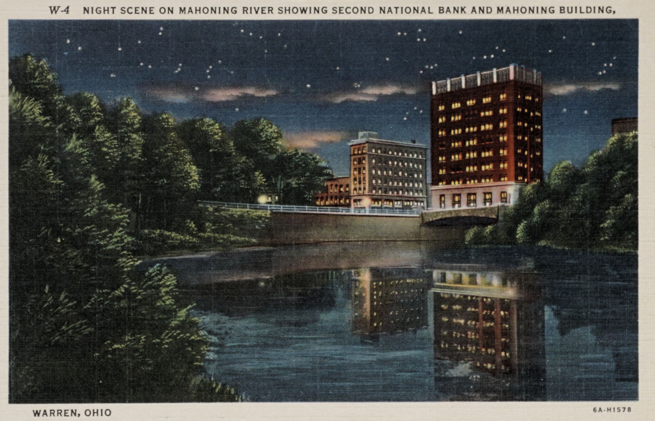 Night Scene on Mahoning River Showing Second National Bank and Mahoning Building, Warren Ohio.