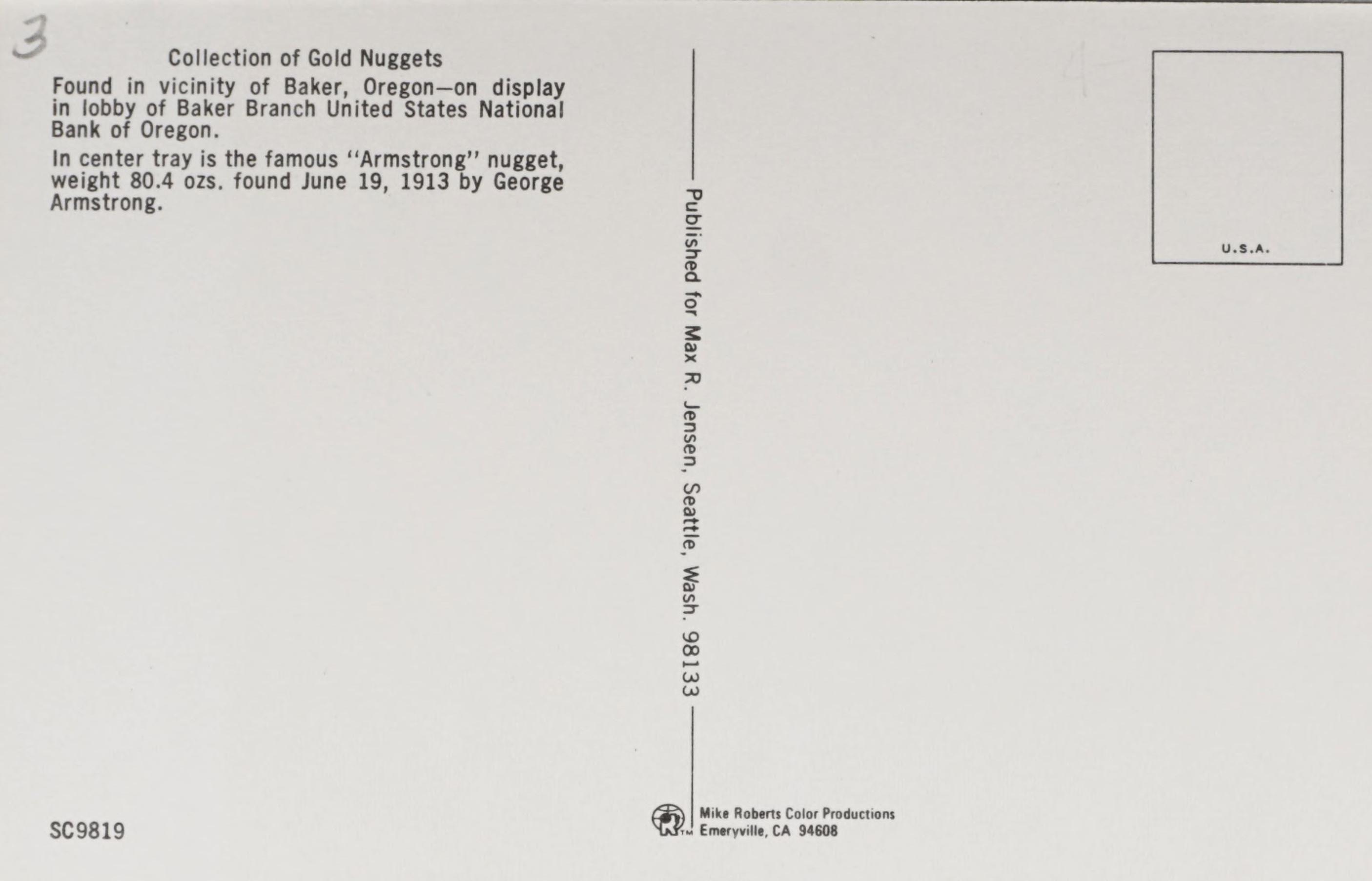 Reverse Side: Gold Display U.S. National Bank of Oregon Baker, Ore. Branch