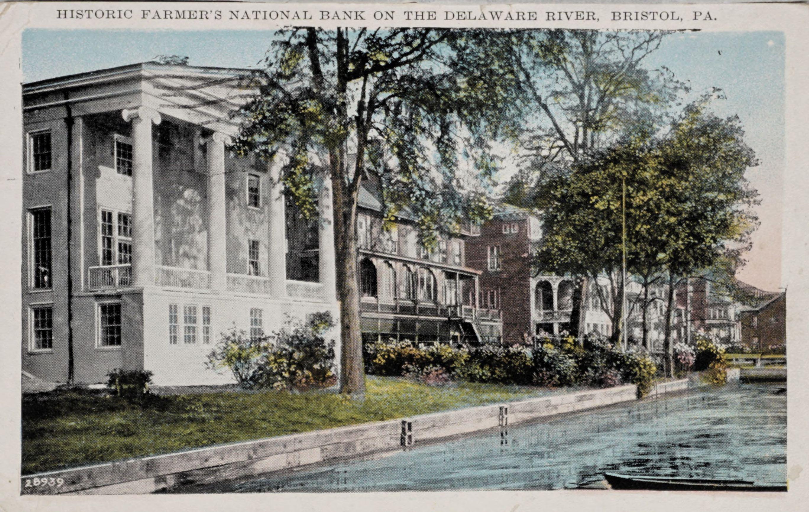 Historic Farmer's National Bank on the Deleware River, Bristol, PA.