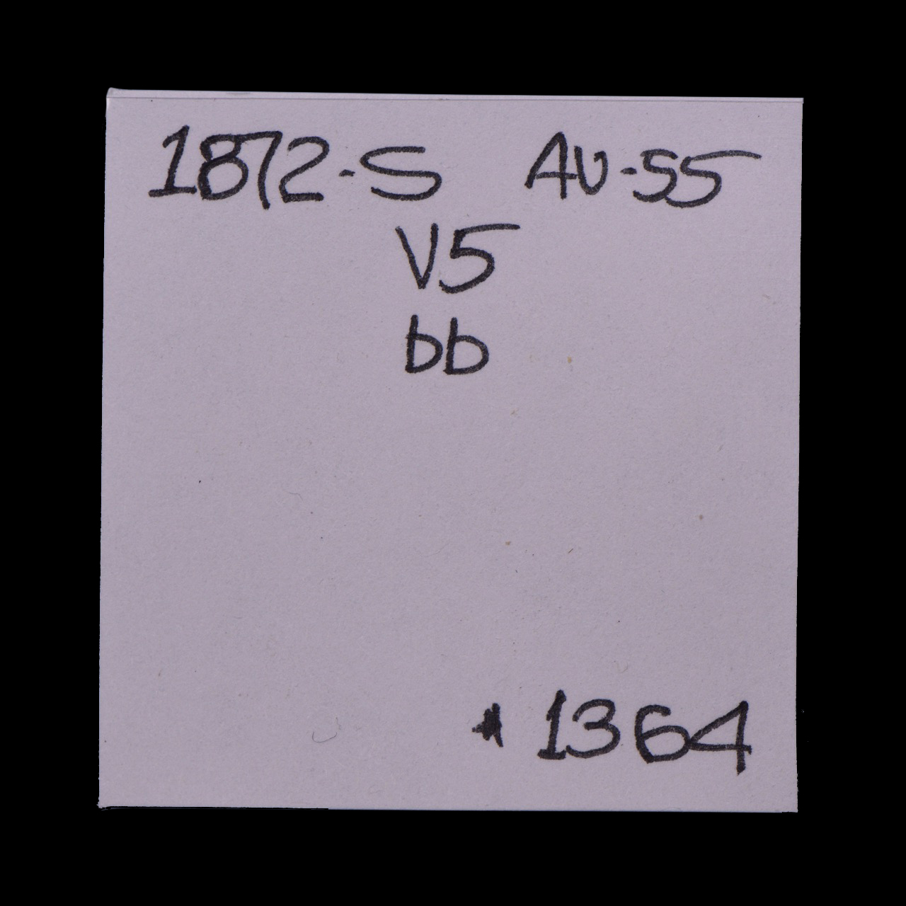 1872-S, V-5, Blundered Date