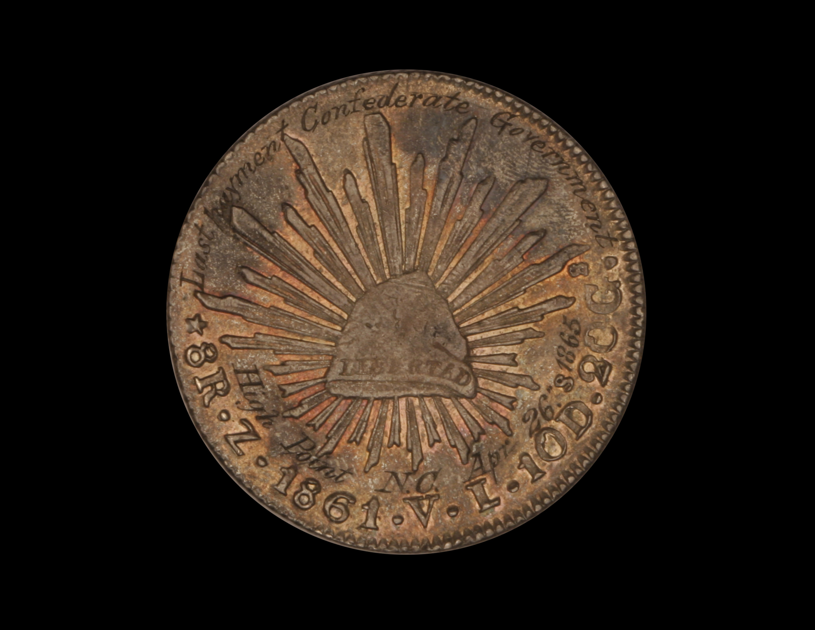 Confederate Sounvenir of The Lost Cause, on Mexico 8 reales piece