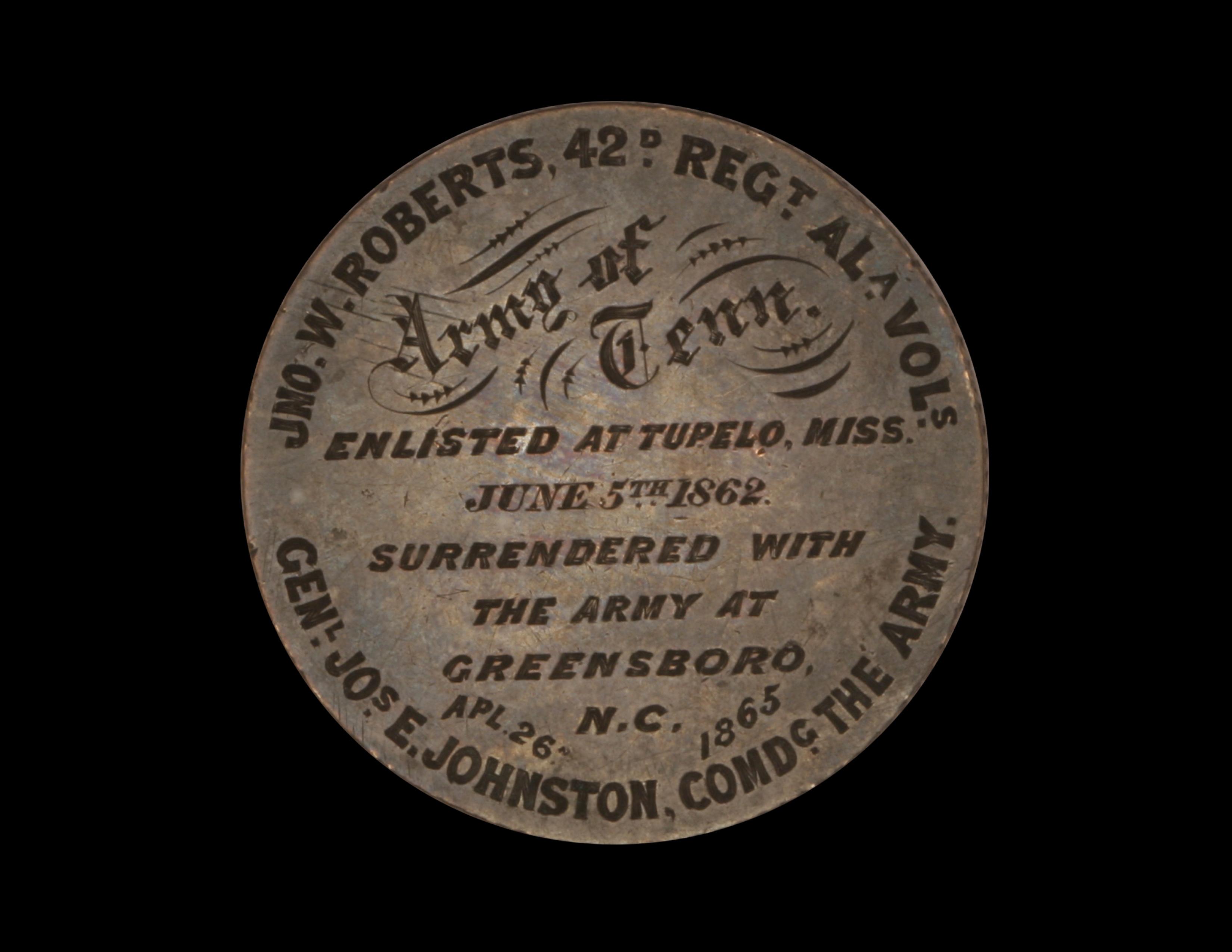 Souvenir of Confederate Surrender, on Mexico 8 reales piece