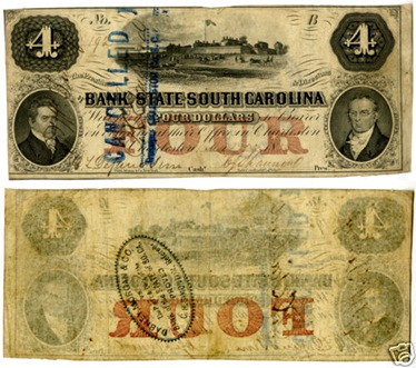 SOUTH CAROLINA SELLS CACHE OF OBSOLETE BANKNOTES