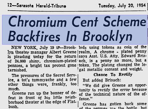 MORE ON THE CHROME CENTS OF 1954