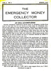 THE EMERGENCY MONEY COLLECTOR, VOL. 1 NO. 1