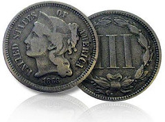 1868 THREE-CENT NICKEL FOUND IN CHANGE AT CHIC-FIL-A