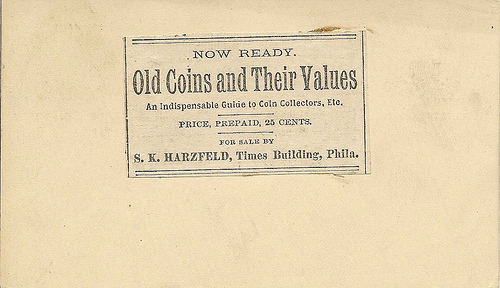 MORE ON HARZFELD'S OLD COINS AND THEIR VALUES