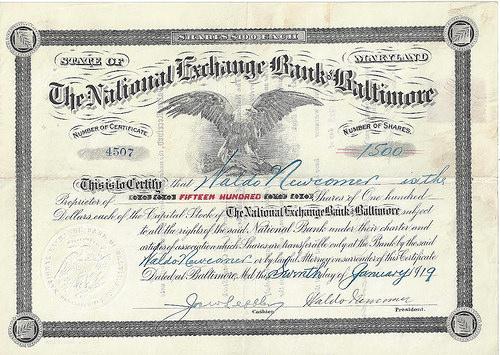 WALDO NEWCOMER BANK STOCK CERTIFICATE